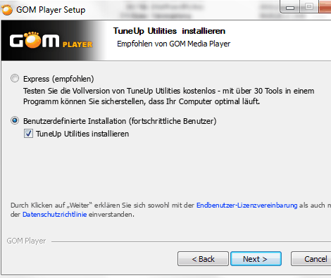 Installation GOM-Player, Beispiel 2